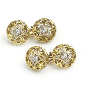 Antique French, Art Nouveau Gold & Diamond Cufflinks