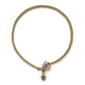 Antique Victorian Garnet & Gold Snake Necklace