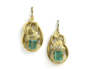 Antique Victorian Emerald, Enamel and Gold Drop Earrings