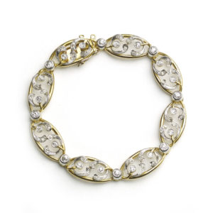 Antique French Art Nouveau Diamond & Gold Mistletoe Bracelet