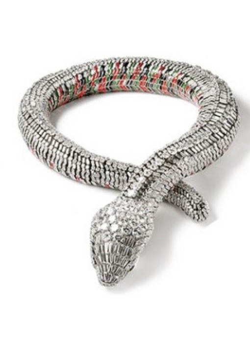 María Félix cartier snake necklace diamond set platinum