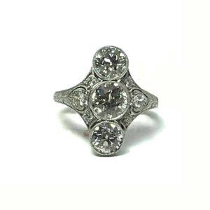 Antique Art Deco Old Cut Diamond ring, Platinum 1920's Plaque Long Lozenge shape