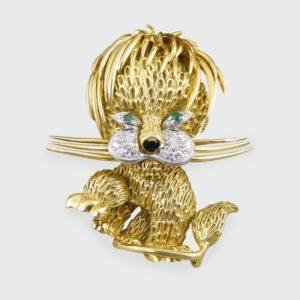 Vintage Diamond Set 18ct Gold Lion Brooch