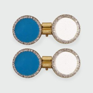 Antique Edwardian Diamond & Enamel Cufflinks