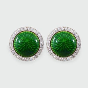 Green Enamel & Diamond Halo Cufflinks