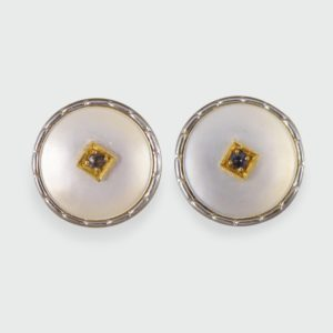 Antique Edwardian Mother of Pearl & Sapphire Cufflinks