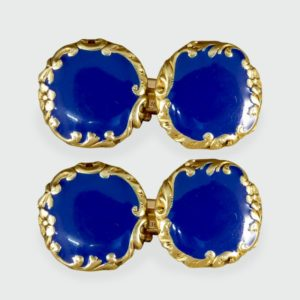 Fine Antique Victorian Blue Enamel 18ct Yellow Gold Cufflinks
