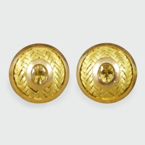 Vintage Yellow Sapphire Gold Cufflinks