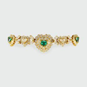 Vintage Emerald & Diamond Heart Shaped Bracelet