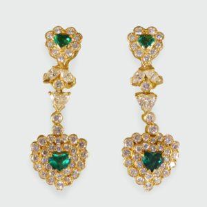 Vintage Emerald & Diamond Heart Shaped Earrings
