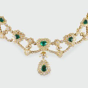 Vintage Emerald & Diamond Heart Shaped Necklace