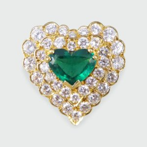 Vintage Emerald and Diamond Heart Shaped Ring