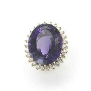 Vintage Amethyst & Diamond Cluster Ring