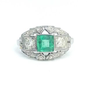 Antique Art Deco Emerald & Diamond Ring