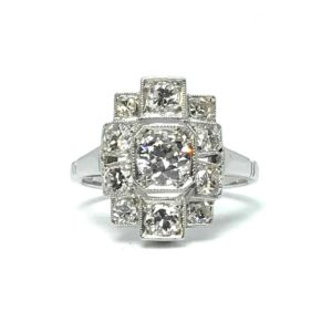 art deco geometric shaped diamond dress ring, 1920's