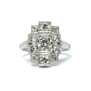 art deco geometric shaped diamond dress ring, 1920's
