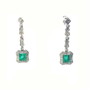 Antique Art Deco Emerald & Diamond Drop Earrings