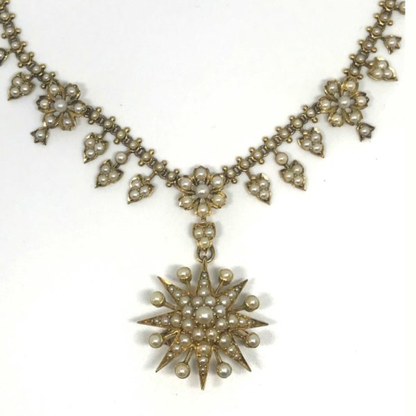 Antique Victorian Edwardian Seed Pearl Necklace & Brooch