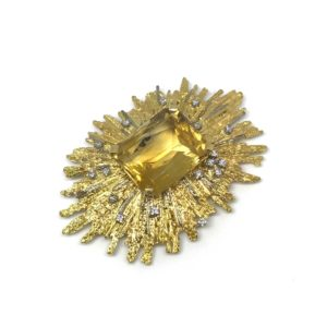 Vintage Gold & Citrine Abstract Brooch