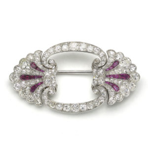 Antique Art Deco Ruby & Diamond Brooch