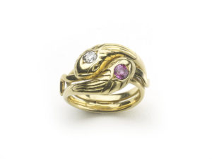 Antique Art Nouveau Maurice Beck Ruby & Diamond Snake Ring
