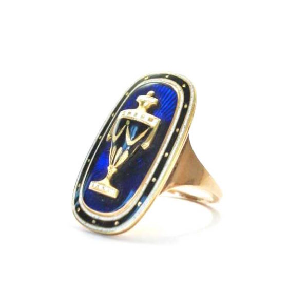 Georgian enamel and goldmemorial ring Urn blue white enamel antique ring