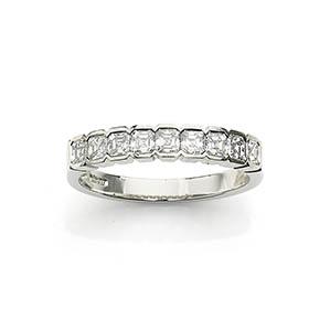 Asscher Cut Diamond Half Eternity Ring