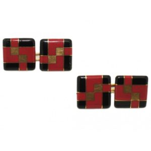 Antique Art Deco Tiffany and Co. Enamel Cufflinks