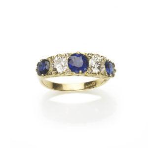Antique Edwardian Sapphire & Diamond Five Stone Ring