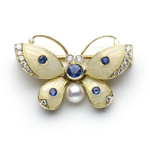Sapphire and Diamond Set Butterfly Brooch