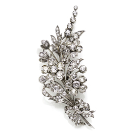 Antique Victorian Diamond Flower Spray Brooch