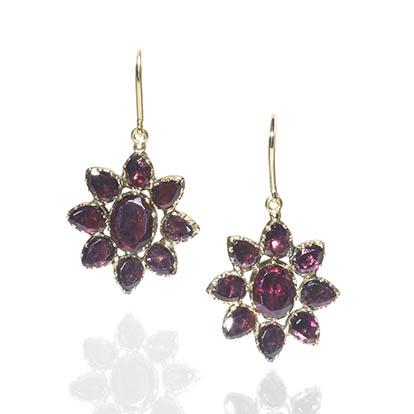 Antique Georgian Garnet Flowerhead Drop Earrings