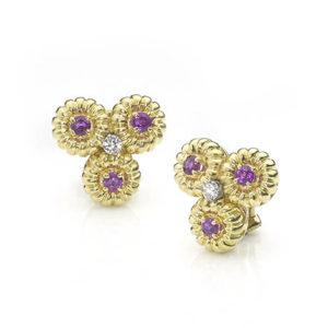 Vintage Cartier Ruby & Diamond Set Triple Cluster Earrings