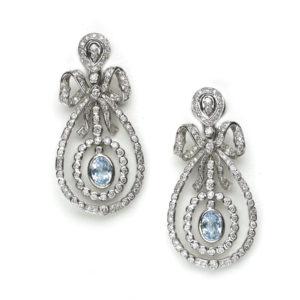 Diamond & Blue Topaz Drop Earrings