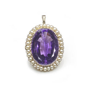 Antique Victorian Amethyst & Pearl Pendant