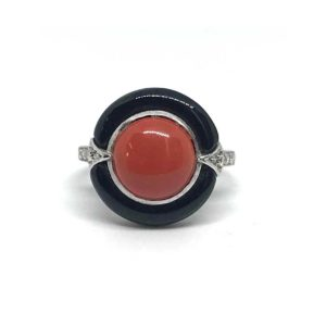 Art Deco Coral and Onyx Ring, 1930's