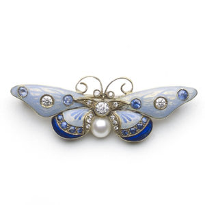 Blue Enamel Butterfly Brooch