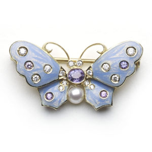 Light Blue Enamel and Diamond Butterfly Brooch
