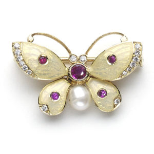 Ruby and Diamond Set Butterfly Brooch