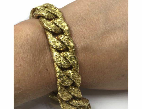 Vintage Georges Lenient 18ct gold Bracelet 1960 1970 link textured