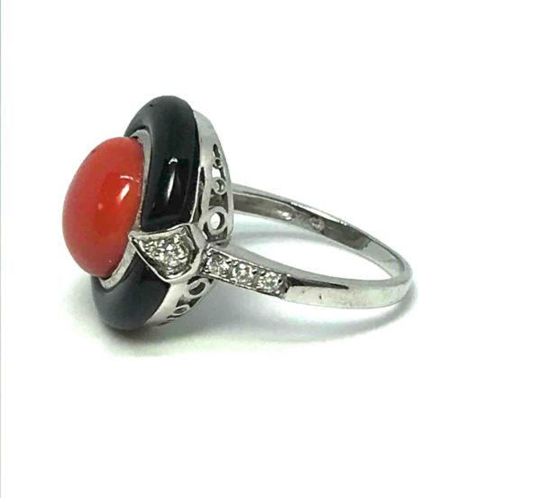 1930's coral diamond onyx ring