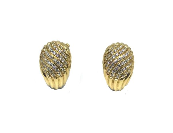 Vintage Boucheron gold and diamond clip on earrings.
