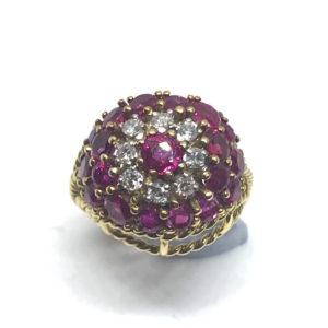 Vintage Ruby Diamond Gold Bombe Ring 1960 1970