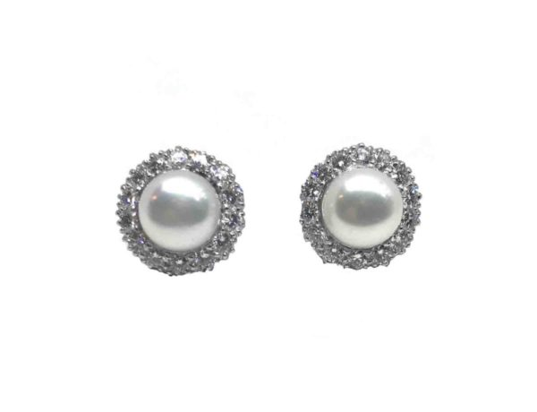 Pearl and diamond cluster earrings platinum