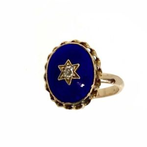 Antique blue enamel and diamond gold ring