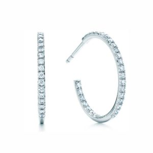 Tiffany and co diamond hoops earrings