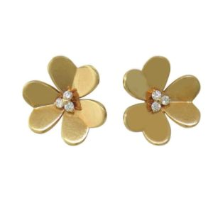 VCA Gold Diamond Flower Earrings.