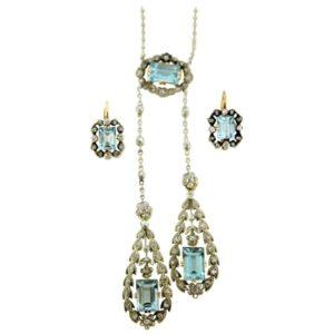 Antique Belle Époque Aquamarine and Diamond Suite