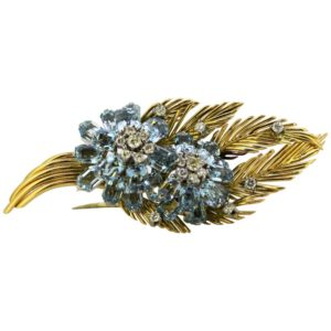 Vintage Aquamarine and Diamond Floral Brooch