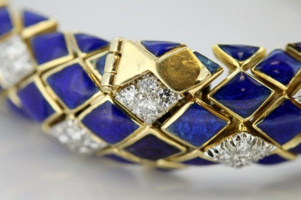 Vintage Blue Enamel and Diamond Bracelet